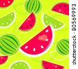 Fresh Summer Melon retro background / pattern - pink and green. Vector - stock vector