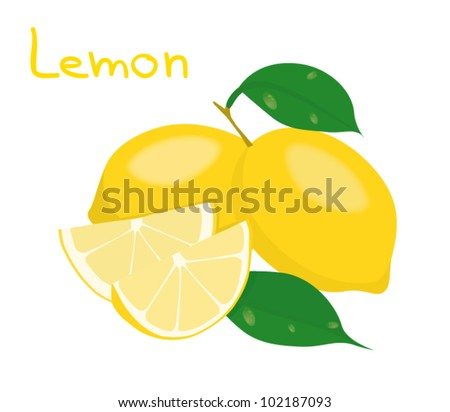 Fresh vector lemons with leaves