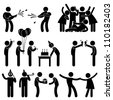 Friend Party Celebration Birthday Icon Symbol Sign Pictogram - stock photo
