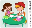 Friends doing homework. Vector Illustration of a girl and a boy student doing their homework.  - stock photo
