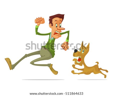 frightened man run away from angry dog, cartoon