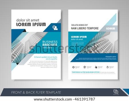 brochure front cover design - front back page brochure flyer design stock vector