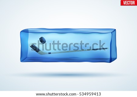 Frozen cube with ice hockey sticks and puck. Sporting symbol and sign. Vector Illustration isolated on background.