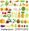 Fruit and vegetable icons - stock vector