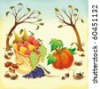 Fruit and vegetables in Autumn. Vector illustration, isolated objects. - stock vector