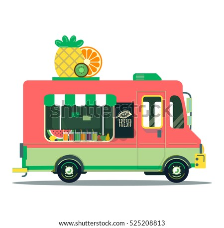 Food Trucks Fruit Car Illustration Vegan Vitamin