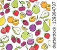Fruit doodles seamless vector - stock vector