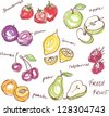 Fruit doodles seamless vector - stock photo