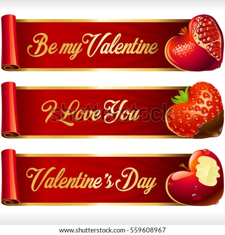 Fruit Hearts and Red Ribbons horizontal Banners set. Juicy Pomegranate, Chocolate Covered Strawberry, and Bitten Apple. Valentines Day celebration or Romantic Lovely Frames Design. Vector Illustration