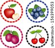 Fruit Labels. Apples, Blueberries, Cherries, Plums. Fresh orchard fruits in round gingham check labels isolated on white background. EPS8 compatible. - stock vector