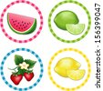 Fruit Labels. Watermelon, Limes, Strawberries. Lemons.  Fresh summer fruits in round gingham check label tags isolated on white background. EPS8 compatible. - stock vector