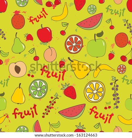 Fruit seamless bright vector pattern. Apple, peach, banana, cherry, orange, lemon, watermelon on bright background. Can be used for wrapping, textile, wallpaper.