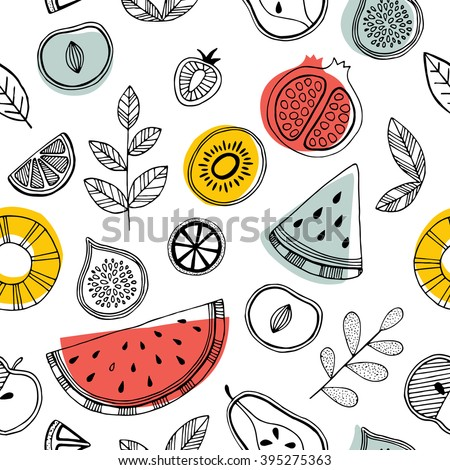 stock vector fruit seamless pattern scandinavian style pattern vector illustration 395275363 - Каталог — Фотообои «Еда, фрукты, для кухни»