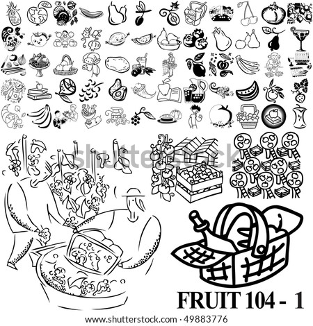 Fruit set of black sketch. Part 104-1. Isolated groups and layers.