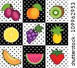 Fruit Tiles, polka dot design: plums, peach, kiwi; lemon, grapes, pineapple, cantaloupe, watermelon, strawberry. Decorative black and white pattern tile background. EPS8 compatible. - stock vector
