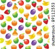 Fruit to background, seamless pattern - stock vector