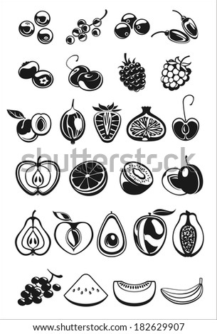 fruits and berry black and white icons