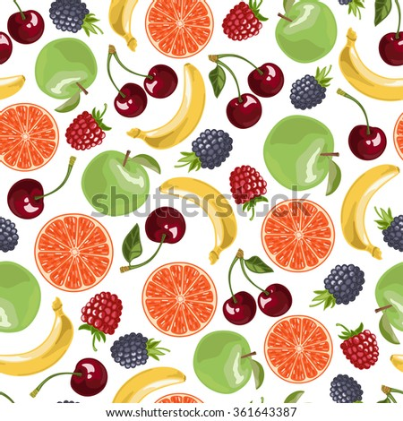 Fruits seamless pattern. Vector illustration in cartoon style.