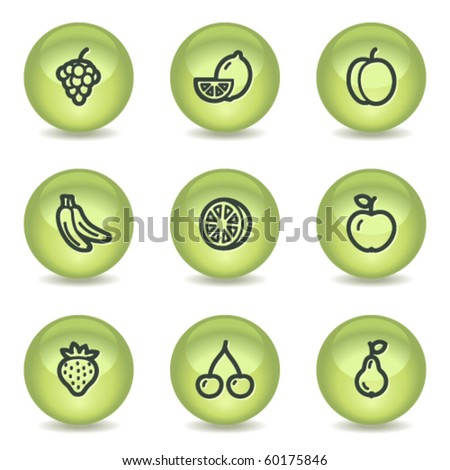 Fruits web icons, green glossy circle buttons