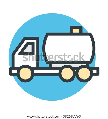 Fuel Truck Colored Vector Icon