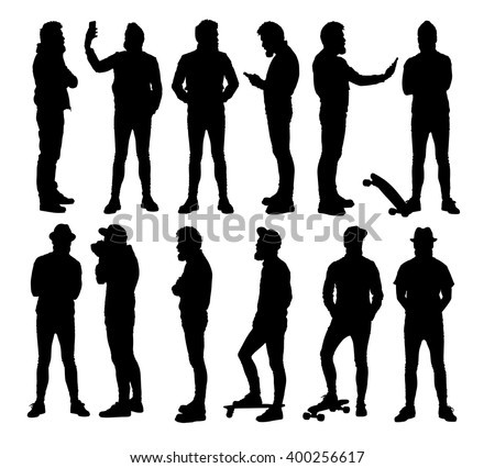 Full body standing hipster in different situations. Set or collection of various bearded man vector silhouettes.