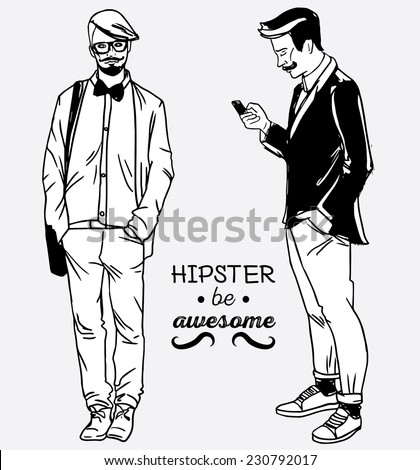full length portrait of two fashion men, urban trendy hipsters, vector illustration