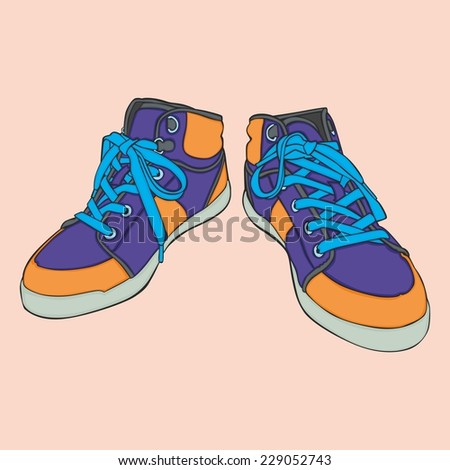 fully editable vector illustration of isolated shoes