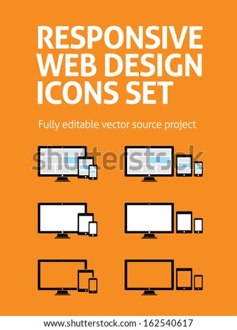 Fully responsive web design icons in electronic devices. Vector EPS 10