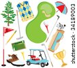 Fun golf elements isolated on white - stock vector
