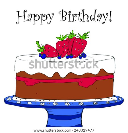 Fun illustrated card design of a birthday cake with fruit and jam