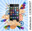 Funky background with mobile phone, EPS 10, file contains transparency, separated on layers. - stock
