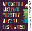 Funny alphabet letters with numbers in retro style. Cool vector illustration. - stock