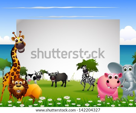 funny animal cartoon with beach background and blank sign