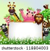 funny animal cartoon with blank sign and tropical forest background - stock photo