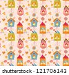 Funny bird nests, seamless pattern - stock vector