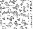 Funny birds, seamless pattern for your design - stock vector