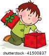 Funny boy opens the gift - stock vector
