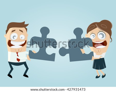 funny business team with jigsaw puzzle working together