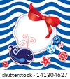 Funny Card with whale, buttons, bow and empty frame for text on stripe background - stock photo