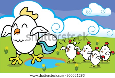 Funny cartoon chicken with chickens walking on ecologically clean grass at the farm vector illustration