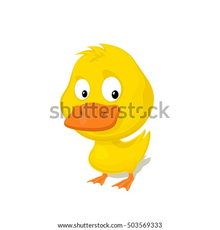 Funny cartoon duckling isolated on white background vector illustration. Zoo Animal and bird concept.