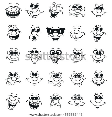 Funny cartoon emotional faces set for comics design.