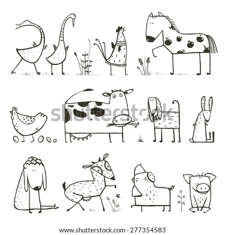funny cartoon farm domestic animals collection stock vector 277354583 shutterstock. Black Bedroom Furniture Sets. Home Design Ideas