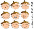 funny cartoon kid's faces having different expressions. See line art version in my portfolio - stock photo