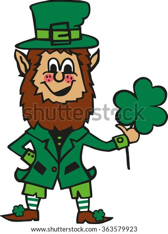 Funny cartoon leprechaun with clover in his hand