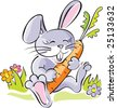 Funny cartoon rabbit, holding carrot. Artistic  vector illustration. - stock vector