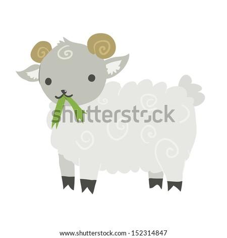 Funny cartoon sheep illustration mascot. Vector animal. - stock vector