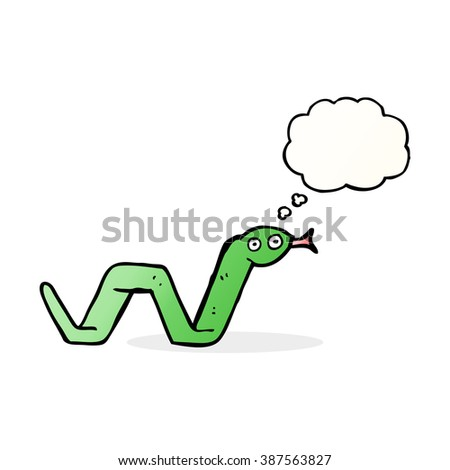 funny cartoon snake with thought bubble