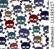 Funny cartoon style skulls seamless pattern, vector background. - stock vector