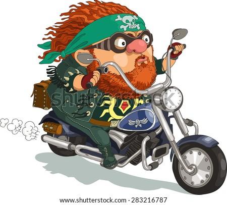 Funny Cartoon Vector Illustration Bearded Biker Stock ...